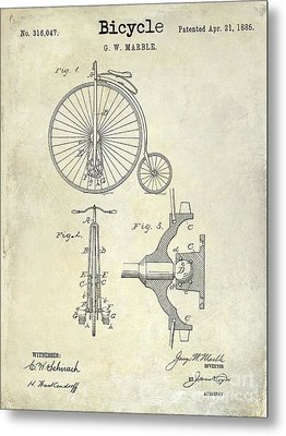1885 Bicycle Patent Drawing  Metal Print