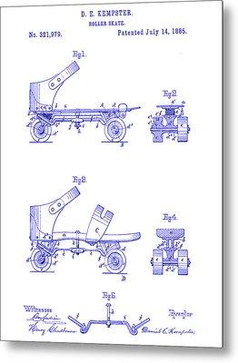 1885 Roller Skate Patent Blueprint Metal Print