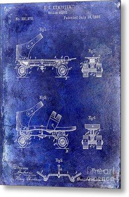 1885 Roller Skate Patent Drawing Blue Metal Print