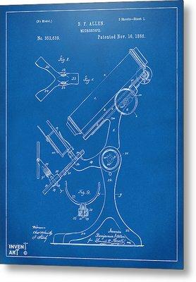 1886 Microscope Patent Artwork - Blueprint Metal Print by Nikki Marie Smith