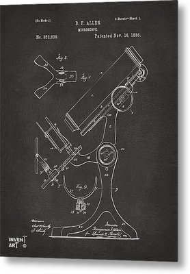 1886 Microscope Patent Artwork - Gray Metal Print