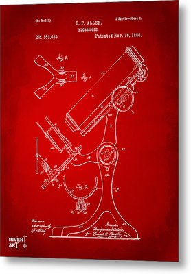 1886 Microscope Patent Artwork - Red Metal Print by Nikki Marie Smith