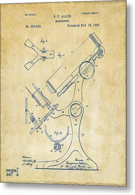 1886 Microscope Patent Artwork - Vintage Metal Print by Nikki Marie Smith