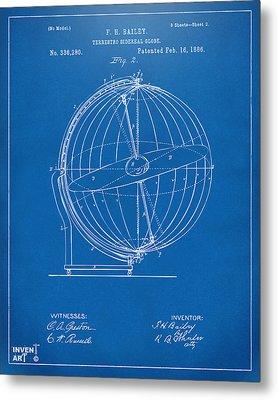 1886 Terrestro Sidereal Globe Patent 2 Artwork - Blueprint Metal Print by Nikki Marie Smith