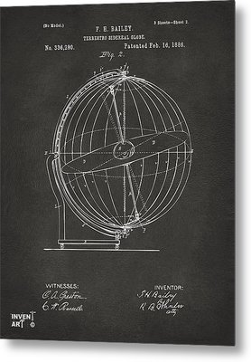 1886 Terrestro Sidereal Globe Patent 2 Artwork - Gray Metal Print by Nikki Marie Smith