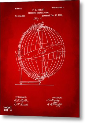 1886 Terrestro Sidereal Globe Patent 2 Artwork - Red Metal Print by Nikki Marie Smith