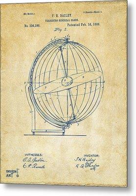 1886 Terrestro Sidereal Globe Patent 2 Artwork - Vintage Metal Print by Nikki Marie Smith