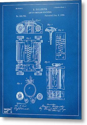 1889 First Computer Patent Blueprint Metal Print by Nikki Marie Smith