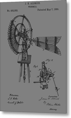 1889 Windmill Patent Metal Print by Dan Sproul