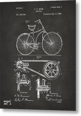 1890 Bicycle Patent Artwork - Gray Metal Print