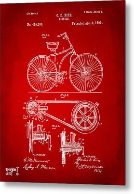 1890 Bicycle Patent Artwork - Red Metal Print