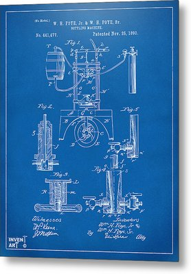 1890 Bottling Machine Patent Artwork Blueprint Metal Print