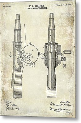 1890 Fishing Reel Patent Drawing  Metal Print by Jon Neidert