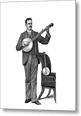 1890s Man Standing Playing Five String Metal Print