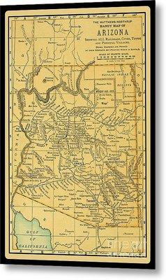 1891 Arizona Map Metal Print