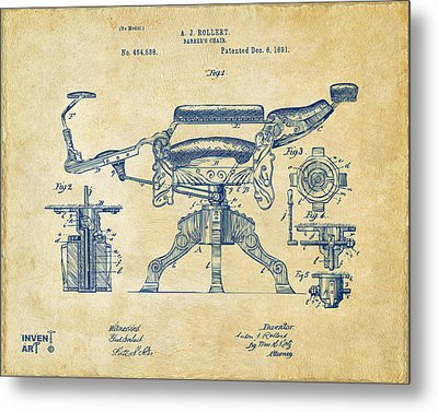 1891 Barber's Chair Patent Artwork Vintage Metal Print