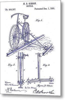 1891 Bicycle Patent Blueprint Metal Print by Jon Neidert