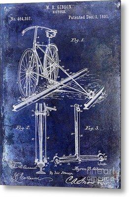 1891 Bicycle Patent Drawing Blue Metal Print by Jon Neidert