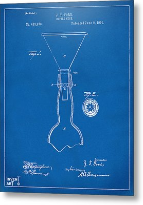 1891 Bottle Neck Patent Artwork Blueprint Metal Print by Nikki Marie Smith