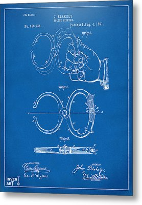 1891 Police Nippers Handcuffs Patent Artwork - Blueprint Metal Print by Nikki Marie Smith