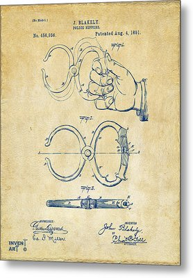 1891 Police Nippers Handcuffs Patent Artwork - Vintage Metal Print