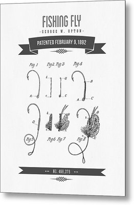 1892 Fishing Fly Patent Drawing Metal Print by Aged Pixel