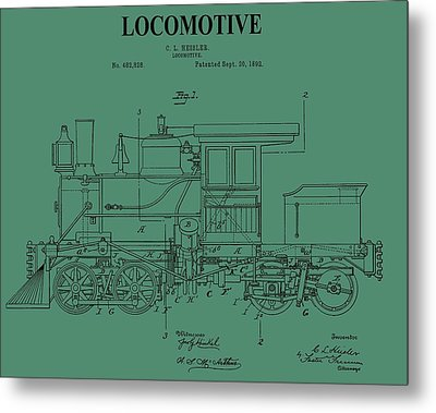 1892 Locomotive Patent On Green Metal Print by Dan Sproul