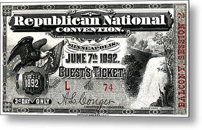 1892 Republican Convention Ticket Metal Print by Historic Image