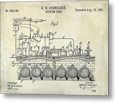 1893 Beer Brewing Patent Drawing Metal Print by Jon Neidert