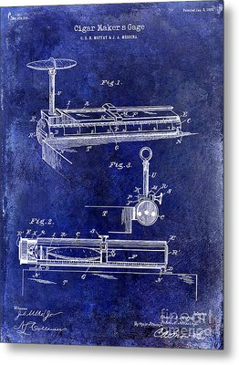 1893 Cigar Makers Gage Patent Drawing Blue Metal Print