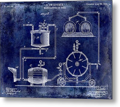 1893 Manufacture Of Beer Patent Drawing Blue Metal Print by Jon Neidert