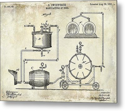 1893 Manufacture Of Beer Patent Drawing Metal Print by Jon Neidert