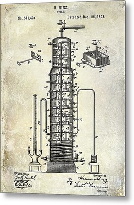 1893 Still Patent Drawing Metal Print by Jon Neidert