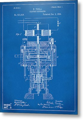 Metal Print featuring the drawing 1894 Tesla Electric Generator Patent Blueprint by Nikki Marie Smith