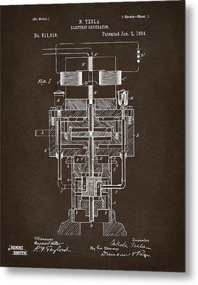 Metal Print featuring the drawing 1894 Tesla Electric Generator Patent Espresso by Nikki Marie Smith