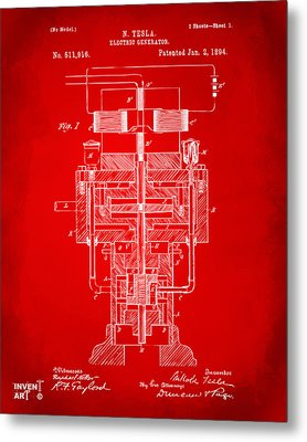 Metal Print featuring the drawing 1894 Tesla Electric Generator Patent Red by Nikki Marie Smith