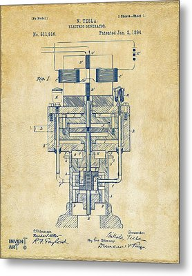Metal Print featuring the drawing 1894 Tesla Electric Generator Patent Vintage by Nikki Marie Smith