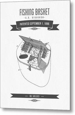 1896 Fishing Basket Patent Drawing Metal Print by Aged Pixel