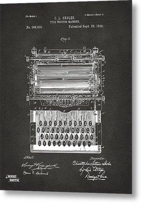1896 Type Writing Machine Patent Artwork - Gray Metal Print