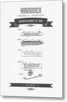 1897 Harmonica Patent Drawing Metal Print