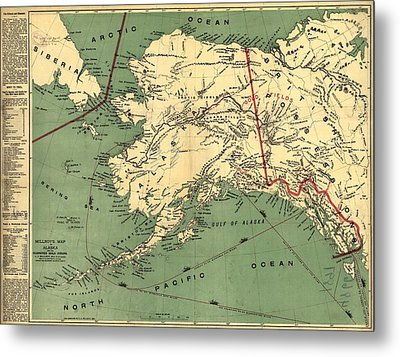 Metal Print featuring the photograph 1897 Map Of Alaska by Charles Beeler