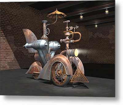 1898 Steam Scooter Metal Print