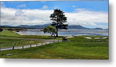 18th At Pebble Beach Panorama Metal Print by Judy Vincent