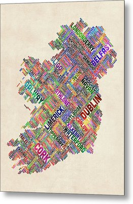 Ireland Eire City Text Map Metal Print by Michael Tompsett
