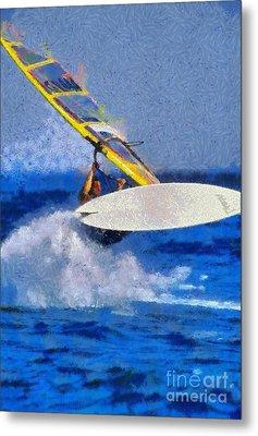 Windsurfing Metal Print by George Atsametakis