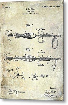 1900 Fishing Hook Patent Drawing Metal Print
