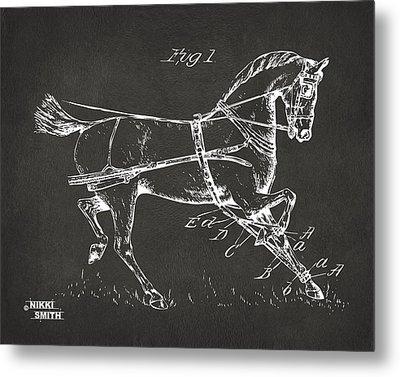 1900 Horse Hobble Patent Artwork - Gray Metal Print by Nikki Marie Smith