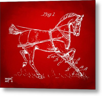 1900 Horse Hobble Patent Artwork Red Metal Print by Nikki Marie Smith