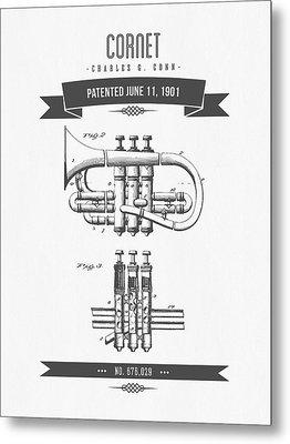 1901 Cornet Patent Drawing Metal Print by Aged Pixel