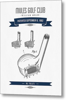 1902 Mules Golf Club Patent Drawing - Retro Navy Blue Metal Print by Aged Pixel